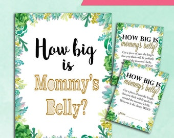 Baby Shower Game How Big is Mommy's Belly - Succulents - Printable Digital Instant Download - Nature forest Cactus Baby BOY Shower Natural