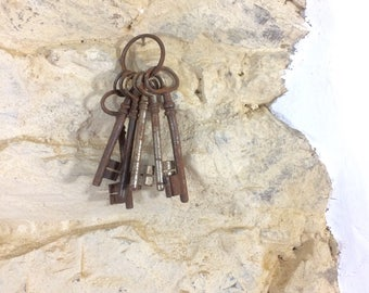 Large Antique French Keys. Set of 6 Rusty Old French Skeleton Key Collection Assemblage Art