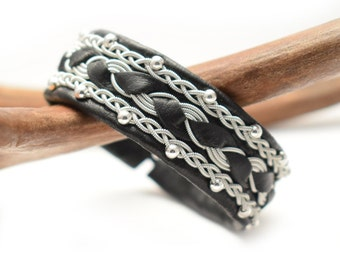 Swedish Sami Bracelet of pewter thread with 4 % silver  and reindeer leather - Made in Sweden