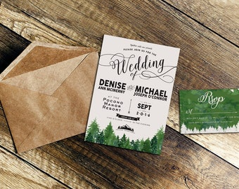 Outdoors, Rustic, Nature Wedding Invitation / Custom Wedding Invitation / Greenery, Outdoorsy, Natural