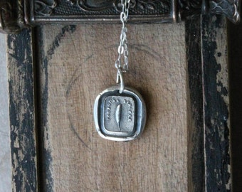 Feather wax seal fine silver charm