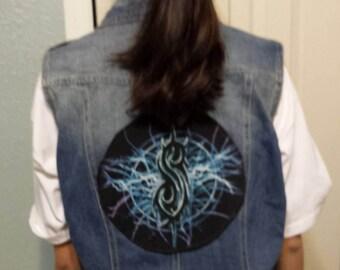 denim vest with  slipknot patch, Xlarge, delled up jacket,