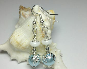Glass Pearl Dangle Drop Earrings, Blue White Glass Beaded Earrings, Silver Handmade Costume Jewellery, Bridesmaids Gift, Under 20 Gift