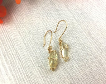 Oregon Sunstone Earrings >> Wire Wrapped Gold Sunstone Crystal Jewelry >> Oregon Gemstone Earrings >> Bohemian Earrings >> Gifts For Her