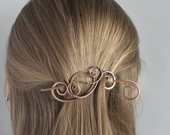 Hair Clip Copper, Hair Barrette, Hair Stick, Hairpin, Copper Wire, Handmade Copper Jewelry, Metal Hair Accessories for Women Gift for Her