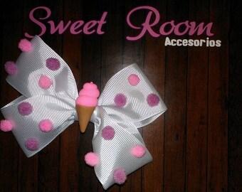 Monkey Boutique ice cream pom poms / Hair Bow Icecream pompons