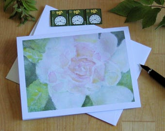White Rose Note Card Blank Watercolor Flower Invitation Thank You Birthday Anniversary All Occasion Friendship Summer Greeting card Notecard