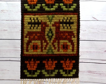 Wool Wall Hanging, Vintage Textile, 1960s Folk Art Tapestry Wool Embroidery, Scandinavian Fiber Art, Mid Century Wall Runner, Sweden Denmark
