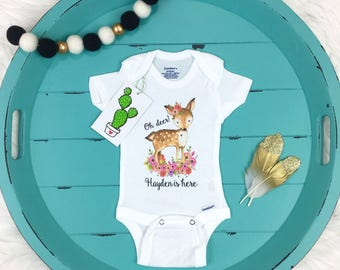 Newborn Girl Coming Home Outfit, Woodland Baby Shower, Deer, Woodland Onesie, Take Home Outfit, Baby Girl Personalized Onesie, Baby Girl