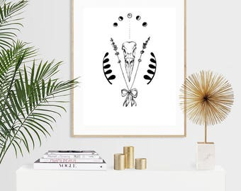 Crow Skull with Lavender and Moon Phases Luxury Pen & Ink Illustration Print - A5 or A4