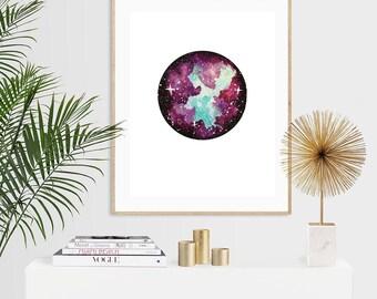 Purple & Turquoise Nebula Luxury Watercolour Art Print - A5 or A4
