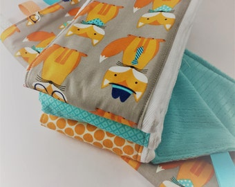Unique Baby Shower Gift - Funny Face Fox Gift Set - Burp Cloth and Lovey Blanket Gift Set