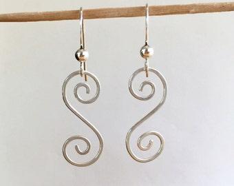 Sterling Silver Swirl Earrings, Sterling Silver Dangle Earrings, Sterling Silver Wire Earrings, Sterling Silver Earrings, Hammered Earring
