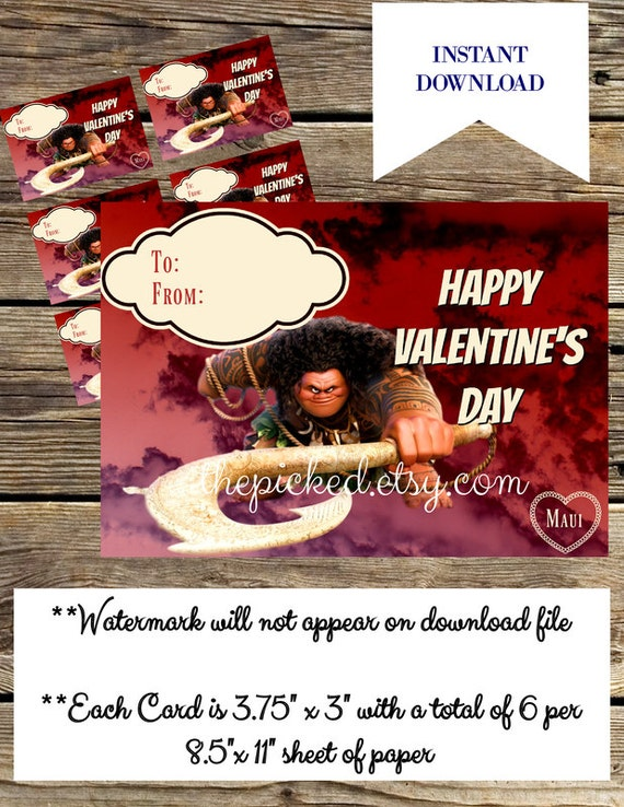 Printable Disney Moana Valentine for Kids