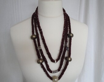 knitted necklace, textile jewellery, beaded necklace, purple OOAK jewelry, 3-strand necklace, statement jewellery, silk mix necklace, OOAK