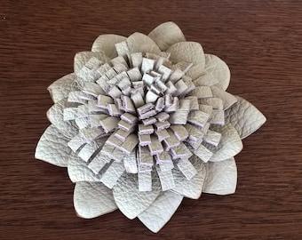 Handmade leather flower brooch, uniqe