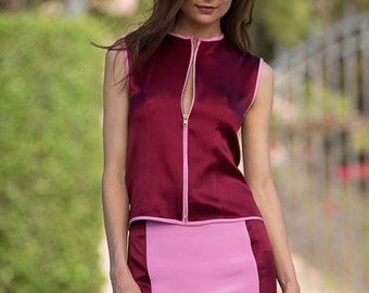 Silk Vest in Red with Pink Contrast Piping
