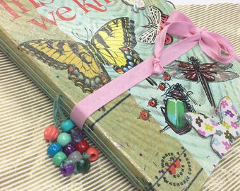 Junk Journal Vintage Insect Book Handmade Nature Sketchbook Art Journal Upcycled Textbook Science Journal Artist Notebook Altered Book