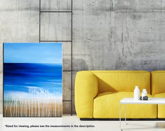 Beach painting, Ocean Seascape art, Acrylic Waves, Abstract Landscape, Modern wall art, California beach Home decor 18 x 24 by Nikki Chauhan