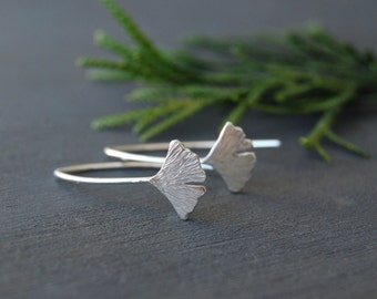 Ginkgo Leaf Earrings, Ginkgo Earrings, Leaf Earrings, Small Leaf Earrings, Textured Earrings, Silver Earrings, Silver Ginkgo Leaf Earrings