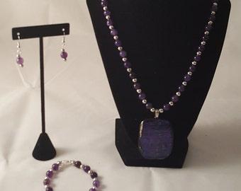 Purple & Black Pendant Necklace Set - Purple Jewelry Set - Purple Pendant Set - Purple Jewelry - Purple Necklace - Purple Bracelet - Purple