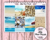 Horizontal Planner 8 Beach Decorative Full Box Stickers B-50H - Perfect for Erin Condren Life Planners / Journals / Stickers.