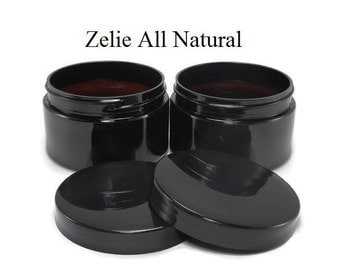 Set of Two (2) 4oz. Low Profile Amber Plastic Empty Containers with Black Lid Caps, Storage Jars for Homemade Products.