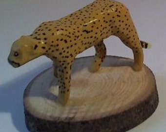 Hand Carved and Hand Painted Cheetah Wooden Decorative Scupture