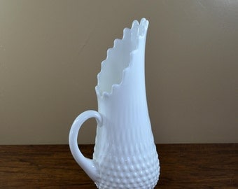 Vintage Fenton Milk Glass Swung Pitcher, Hobnail Swung Vase, Boho Vase, Boho Pitcher
