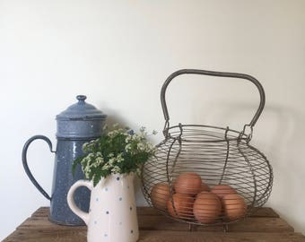 Vintage French Wire Egg Basket, Rustic, Country Kitchen Decor,