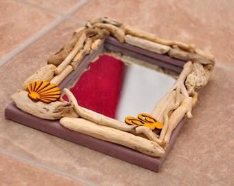 "Small driftwood mirror 7"" x 5"""