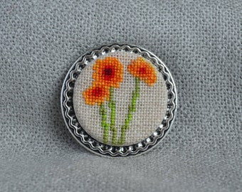 Flower brooch, Cross stitch brooch, Embroidered jewelry, Orange flowers, Handmade brooch, Orange brooch, Flower jewelry, Unique brooch