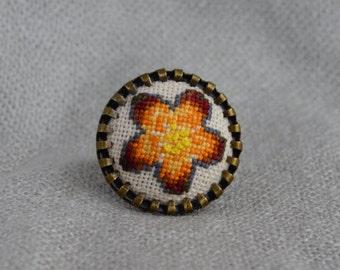 Orange flower ring Hand embroidery Embroidered jewelry Embroidered flower Cross stitch ring Gift for her Round ring Women gift Orange ring
