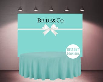 Bride and Co Backdrop Printable, Tiffany Wedding Shower, Bridal Shower Decorations, Tiffany Bridal Shower Banner, Mint Blue Poster, Ribbon