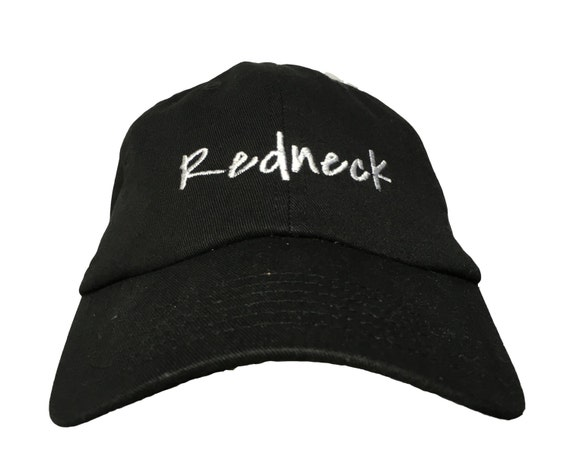 Redneck - Polo Style Ball Cap (Black with White Stitching)