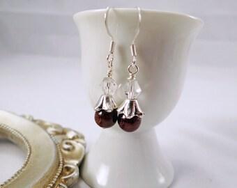 Red garnet & crystal earrings, January birthstone earrings, Garnet gemstone earrings, Birthday gemstone earrings, Crystal and garnet earring