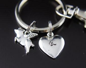 Silver Flying Pig Charm Keychain Winged Pig Heart Pendant Pig Jewelry Flying Pig Jewelry Flying Pig Pendant Charm When Pig Fly Keychain