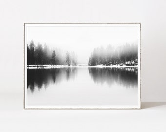 Forest prints, black and white forest landscape, fog forest, trees, landscape prints, wilderness, pine trees, forest wall art, forest photo