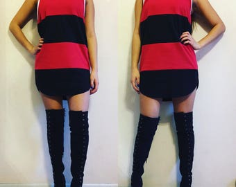 Striped Curved Hem Muscle Tee Dress // Pick your own color combination