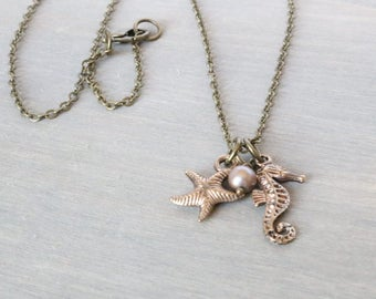 Bronze Starfish Seahorse Necklace - Simple Necklace, Sea Creatures, Beachy Necklace, Charm Necklace, Pendant Necklace, Freshwater Pearl