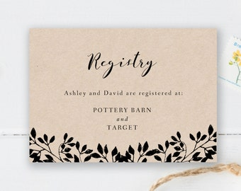 Printable Registry Card Wedding Template Rustic Gift