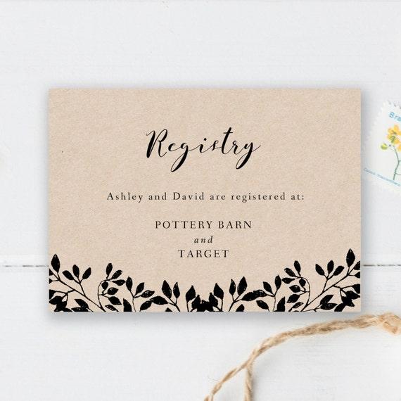 printable registry card wedding registry card template