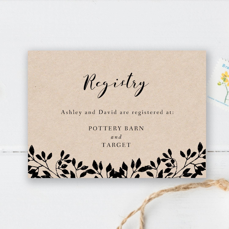 Printable registry card wedding registry card template for Gift cards for wedding registry