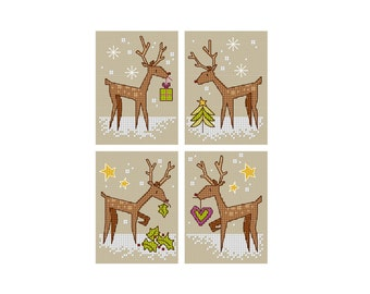 Christmas Deer - Set of 4 - Durene J Cross Stitch Patterns