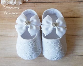 Christening Shoes - White Eyelet Lace Shoes - Baby Girl Christening Shoes - Baptism Shoes - Baptism Shoes Girl