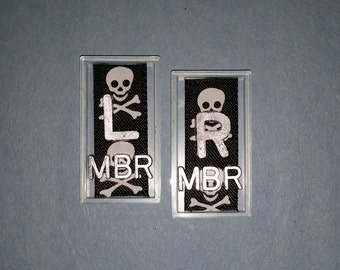 Skull and crossbone Xray markers with initials