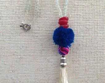 Layering Necklace+ White Tassel + Blue Pompom Necklace+ Tassel Necklace