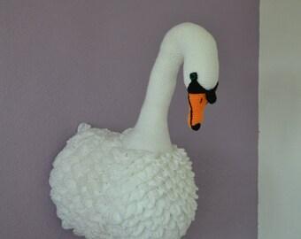 Handmade Crochet Knit swan princess faux taxidermy wall mounted animal head trophy