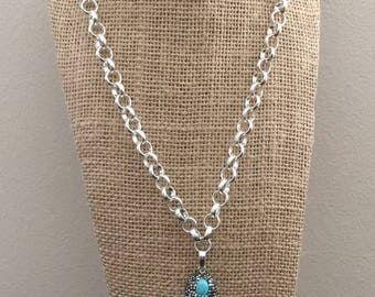 Crystal Quartz Pave Pendant With Turquoise Stone Bead Silver Chain Necklace