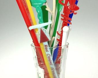 Lot of 15 Mid Century Plastic Swizzle Stir Stick Advertising